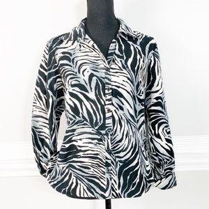 Soft Zebra Print Button Up Shirt Office Blouse